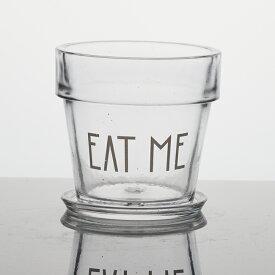 EAT ME 3.5号 受け皿付き  ≪植木鉢/ガーデン雑貨/ガラスポット/おしゃれ/かわいい/インテリア/セール対象F≫
