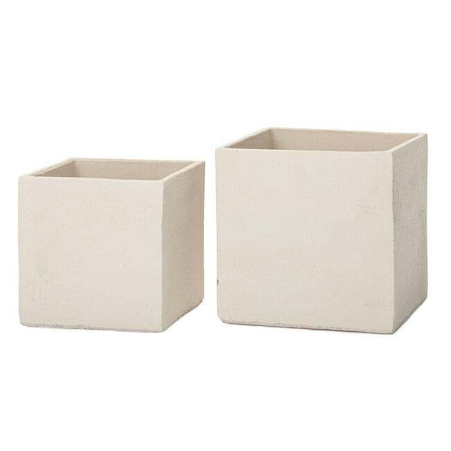 サフィ BX1W 2点セット  ≪植木鉢/陶器/白系テラコッタ/素焼き鉢≫