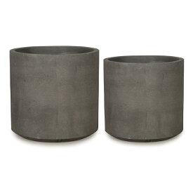 コルテス シリンド M・S 2セット グレー ≪植木鉢/ラフ/セメントプランター/大型/モダン≫