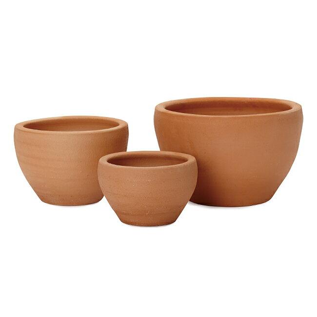 テラコッタ E26 3点セット  ≪植木鉢/おしゃれ/陶器/テラコッタ/素焼き鉢≫