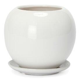 ルッカT.T HG17 白ツヤ 7号受け皿付き   ≪植木鉢/陶器鉢/白黒磁器系≫