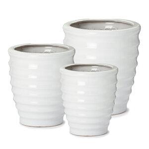 ルッカ HR1 白ツヤ L/M/S 3点セット   ≪植木鉢/おしゃれ/陶器鉢/白黒磁器系≫