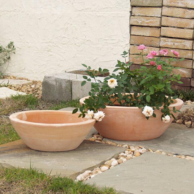 PJマニトバ 2点セット ≪植木鉢/おしゃれ/寄せ植え/陶器/テラコッタ/素焼き鉢≫