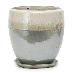 ヴィトロ ドゥオ ツートーン 12号 受け皿付き  ≪おしゃれな植木鉢/陶器鉢/高温焼成≫