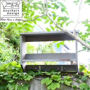 esschert design 木製ガーデンツールハンガー棚付きラック
