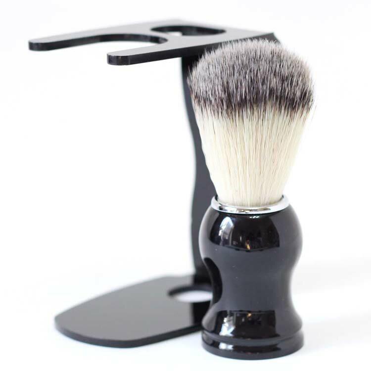 シェービング ブラシ 100% アナグマ 毛 スタンド付き / 泡立ちが違う 理容 洗顔 髭剃り マッサージ 効果 ギフト プレゼント 2017 【送料無料】