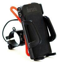 バイク用USBソケット電源付防水仕様スマートフォンホルダーバーマウント多機種対応!!ラバーグリップ2枚付属