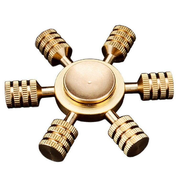 ハンドスピナー ブロンズ 指スピナー Hand spinner 脱着可能 スピン 指遊び 6枚羽 ストレス解消 ウィジェット 【送料無料】