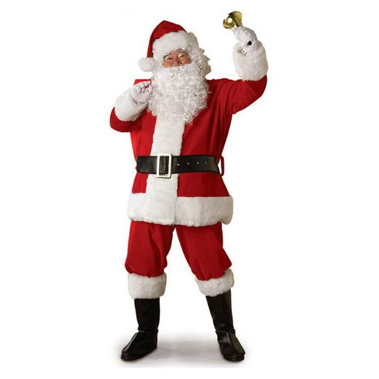 サンタクロース 衣装 メンズ サンタ コスプレ コスチューム 6点セット ブーツ カバー付属 (ジャケット+ズボン+ベルト+帽子+ひげ+靴カバー)