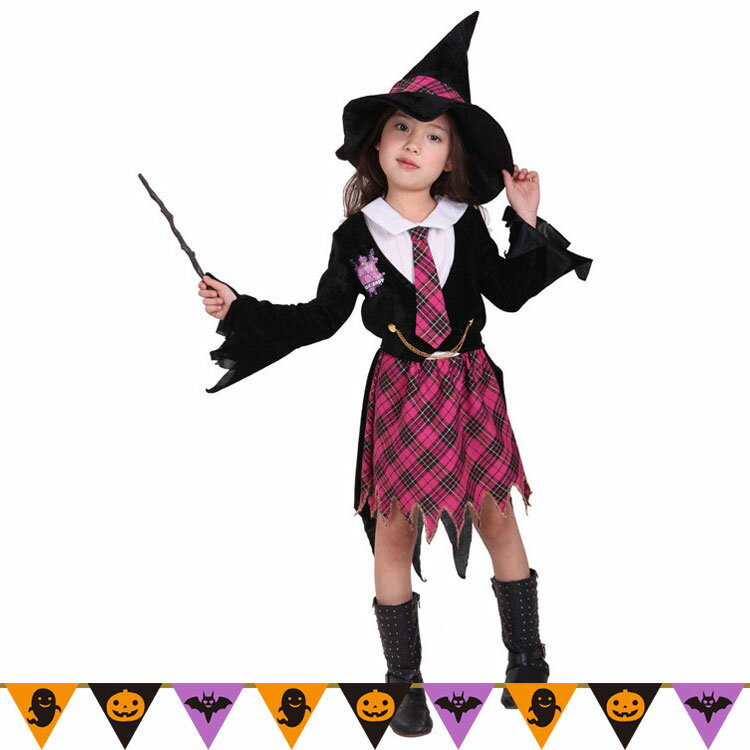 ハロウィン 衣装 子供 女の子 魔法使い コスチューム 魔法学校 魔女 コスプレ キッズ ハロウィン かわいい 衣装 仮装