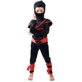 ハロウィン 衣装 子供 男の子 忍者 コスプレ 仮装 キッズ 子供用 コスチューム 上下セット 赤 サイズ 95 110 120 130 140