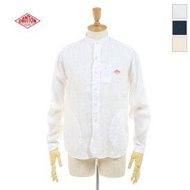 【ポイント10倍】 DANTON(ダントン) メンズ 長袖 リネン バンドカラーシャツ JD-3607 KLS 日本正規代理店商品