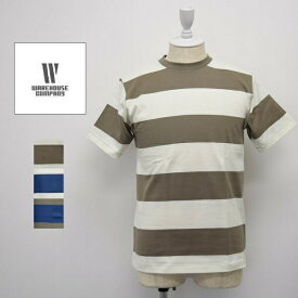 メンズ/WAREHOUSE ウエアハウス/ 半袖 クルーネック 3インチ ボーダー Tシャツ 3INCH BORDER TEE/4071