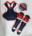 送料無料 ベルガード BELGARD 硬式野球用 キャッチャーセット オーダーカラー 4点セット ネイビー×レッド×ホワイト 収容バッグ付き