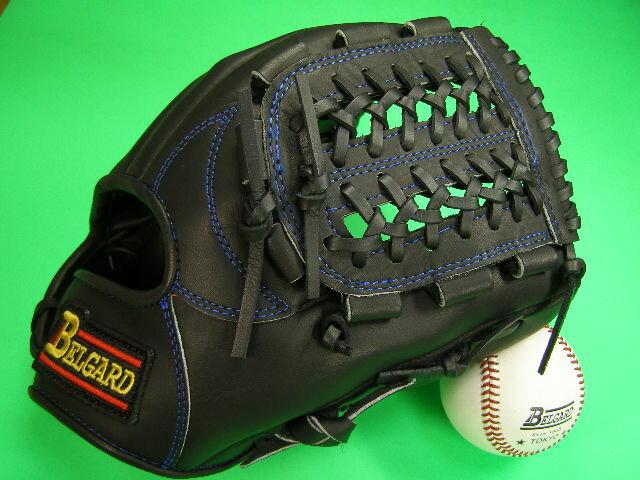 送料無料!型付け加工無料 ベルガード BELGARD 内野用 ブラック×ブルー糸 野球ソフトボール兼用 硬式野球対応