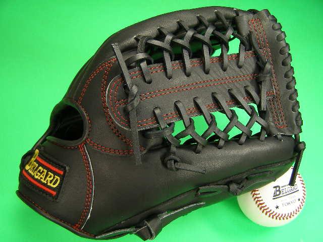 送料無料!型付け加工無料 ベルガード BELGARD オールラウンド用 ブラック×レッド糸 野球ソフトボール兼用 硬式野球対応