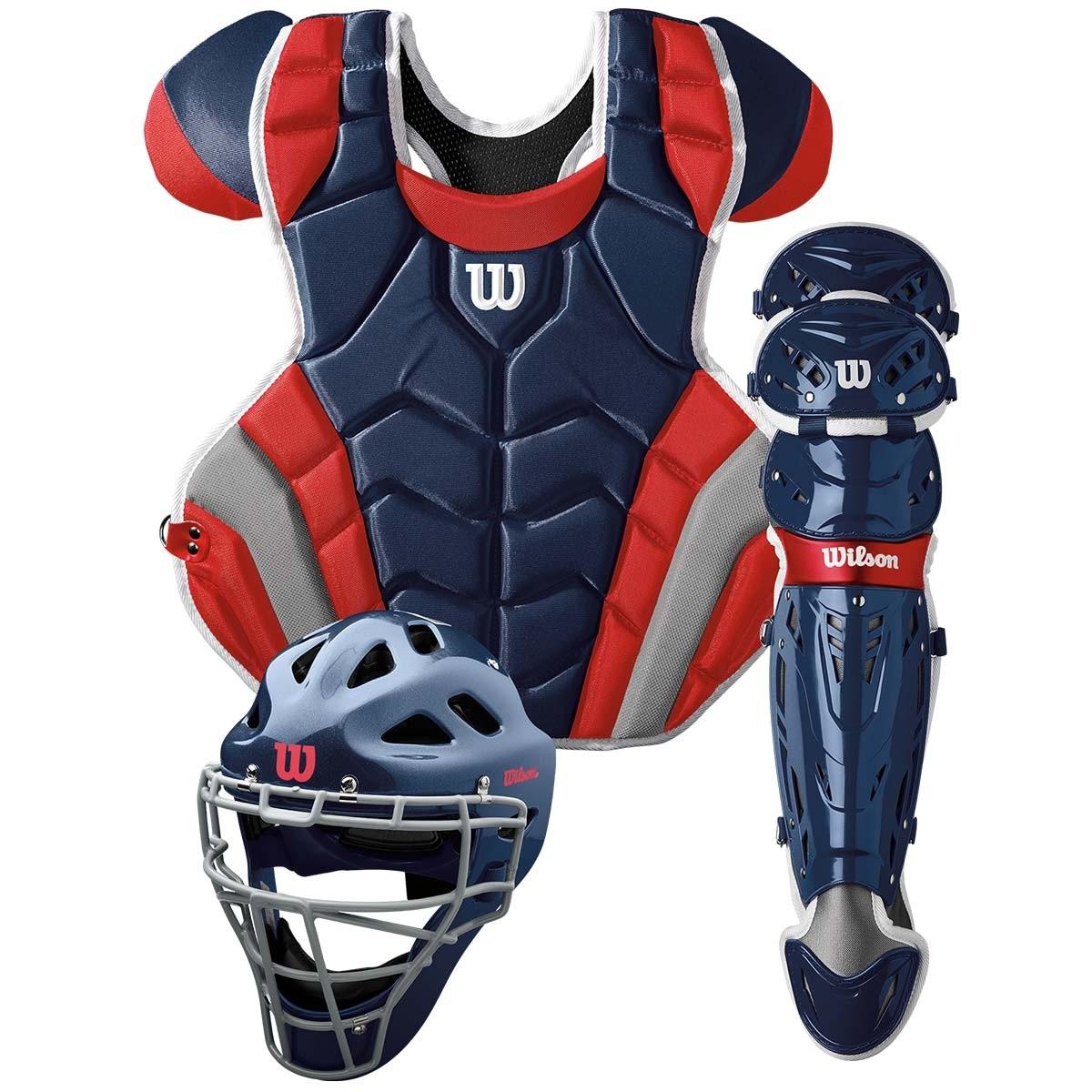 送料無料 ウィルソン WILSON 硬式野球用 キャッチャーセット ネイビー×レッド C1K Catcher's Gear Kit - Adult マスク・プロテクター・レガース