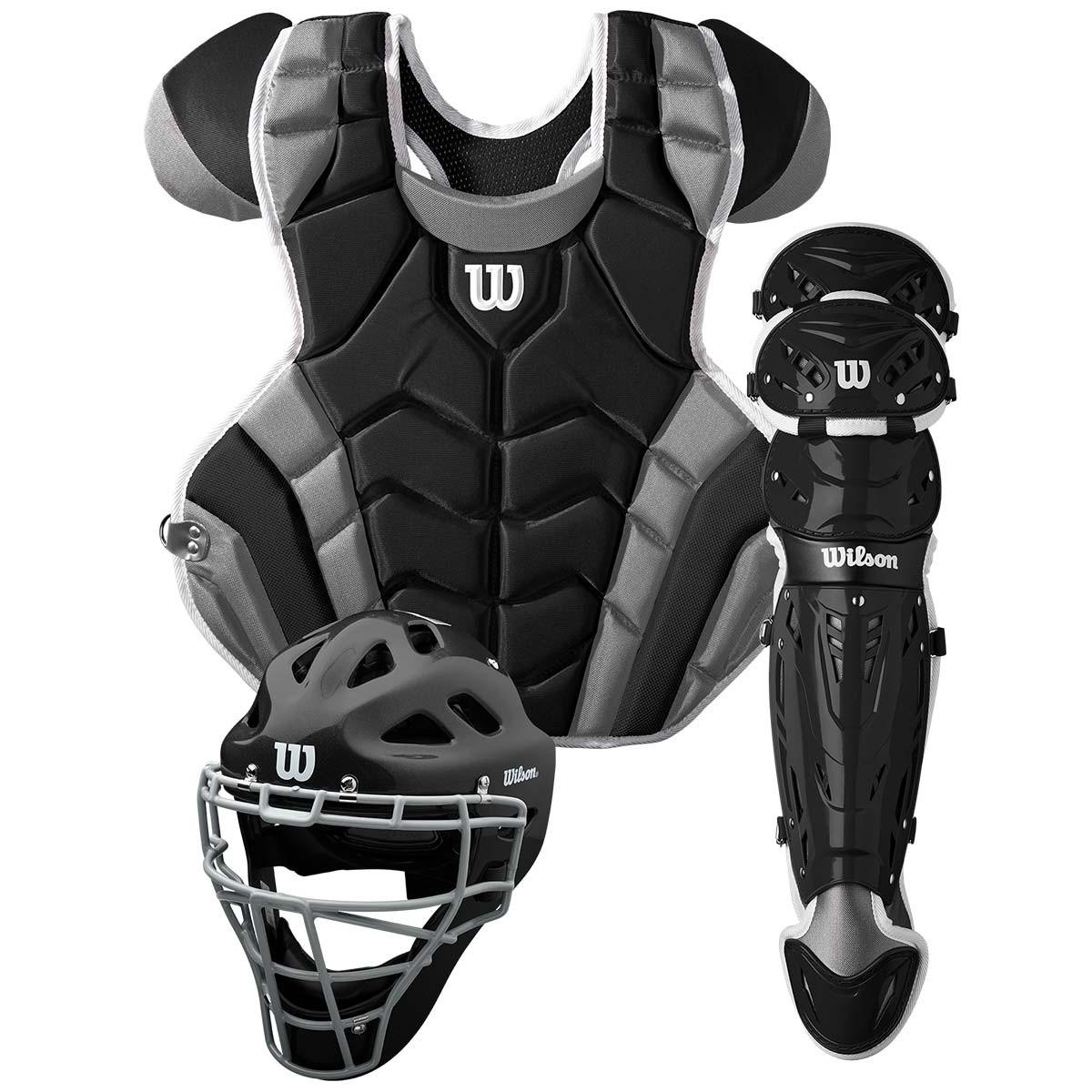 送料無料 ウィルソン WILSON 硬式野球用 キャッチャーセット ブラック×グレー C1K Catcher's Gear Kit - Adult マスク・プロテクター・レガース
