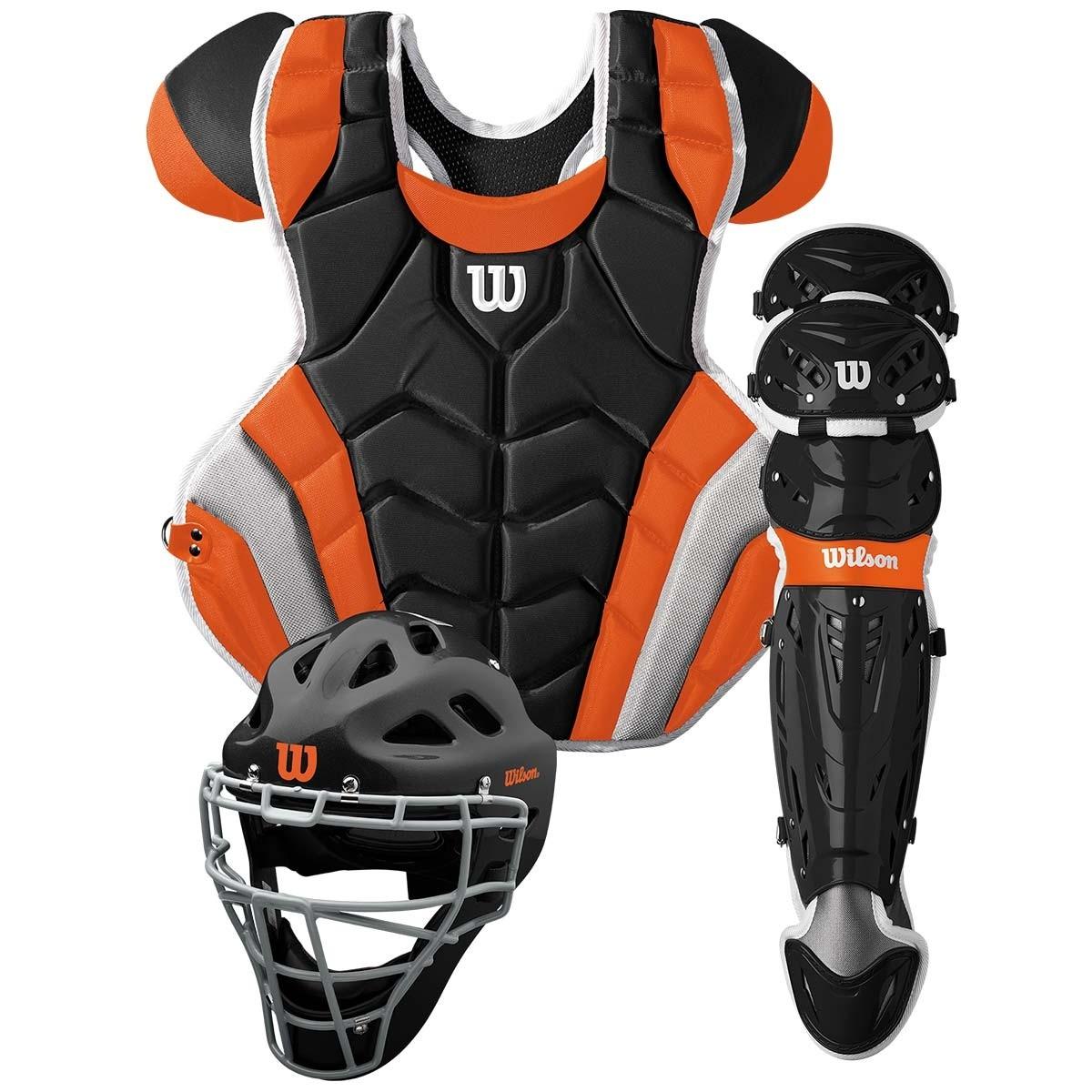 送料無料 ウィルソン WILSON 硬式野球用 キャッチャーセット ブラック×オレンジ C1K Catcher's Gear Kit - Adult マスク・プロテクター・レガース