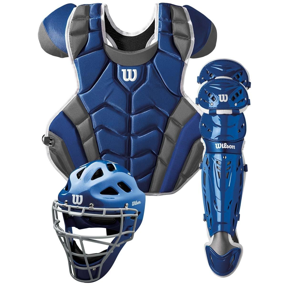 送料無料 ウィルソン WILSON 硬式野球用 キャッチャーセット ブルー×グレー C1K Catcher's Gear Kit - Adult マスク・プロテクター・レガース