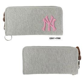 560b3bf6fda6 あす楽 イーカム MLB 長財布 ニューヨークヤンキース 杢調 グレー×ピンク YK-WLT01