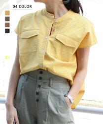 BASEMENTonline胸ポケット付き半袖トップス
