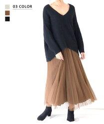 優しい色味が軽やかなチュールプリーツスカート