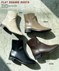 【送料無料】レディース シューズ フラット スクエア ブーツ ブーティ フェイクレザー ショートブーツ 靴 BASEMENT online 2020 AW 【宅配便】【BO2020AW】