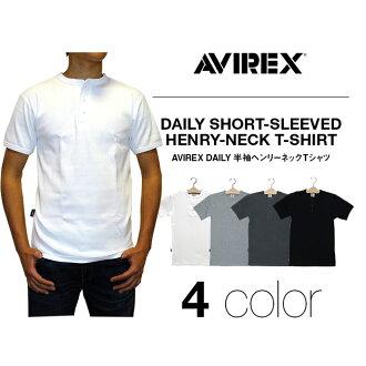 AVIREX 아비렉스데이리 반소매 헨리-넥 리브 T셔츠 무지