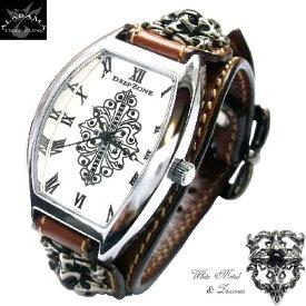 3ce410df84 腕時計メンズ イタリアンレザー トノーフェイス ブレスウォッチ ホワイトメタルクロスコンチョ ブラウン