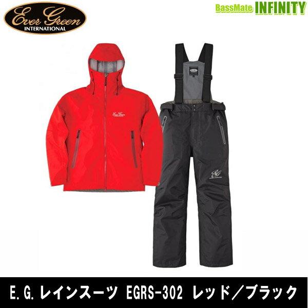 ●エバーグリーン EVERGREEN E.G.レインスーツ EGRS-302 レッド/ブラック 【まとめ送料割】