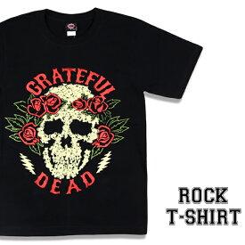 ロックTシャツ 半袖 Grateful Dead Tシャツ グレイトフルデッド バンドTシャツ メンズ レディース パロディ Tシャツ おもしろ ロゴ 衣装 ダンス ミュージック ファッション ROCK ブラック 黒 コットン 綿 100% 春夏 夏物 おしゃれ