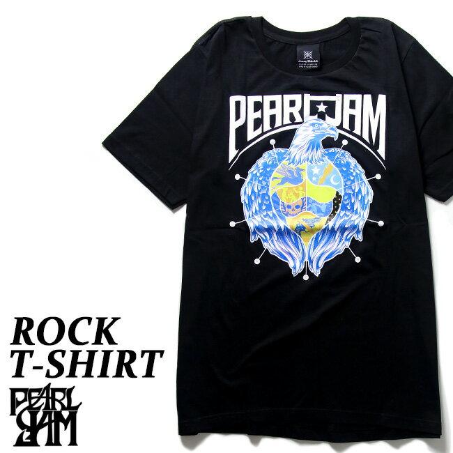 ロックTシャツ 半袖 Pearl Jam Tシャツ パール ジャム バンドTシャツ メンズ レディース ロックT バンドT バンT ロゴ 衣装 ロゴT ダンス ミュージック ファッション ROCK ブラック 黒 コットン 綿 100% 春夏 夏物 おしゃれ