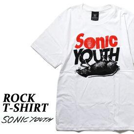 ロックTシャツ 半袖 Sonic Youth Tシャツ ソニックユース バンドTシャツ メンズ レディース パロディ Tシャツ おもしろ ロゴ 衣装 ダンス ミュージック ファッション ROCK ブラック 白 コットン 綿 100% 春夏 夏物 おしゃれ