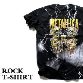 ロックTシャツ 半袖 稲妻 デザイン Metallica Tシャツ メタリカ サンダーボルト バンドTシャツ メンズ レディース ロックT バンドT バンT ロゴ 衣装 ロゴT ダンス ミュージック ファッション ROCK ブラック 黒 コットン 綿 100% 春夏 夏物 おしゃれ