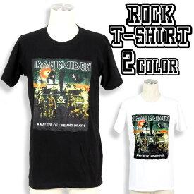 ロックTシャツ 半袖 Iron Maiden Tシャツ アイアンメイデン バンドTシャツ メンズ レディース ロックT バンドT バンT ロゴ バンド ロゴT ダンス ミュージック ファッション ROCK ブラック ホワイト 黒 白 ヘヴィメタ コットン 綿 100% 春夏 夏物 おしゃれ