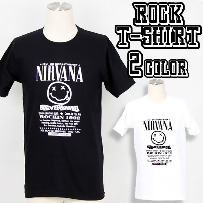 ロックTシャツ バンドTシャツ Nirvana ニルヴァーナ ニルバーナ カラー メンズ 夏用 コットン100% M-XL