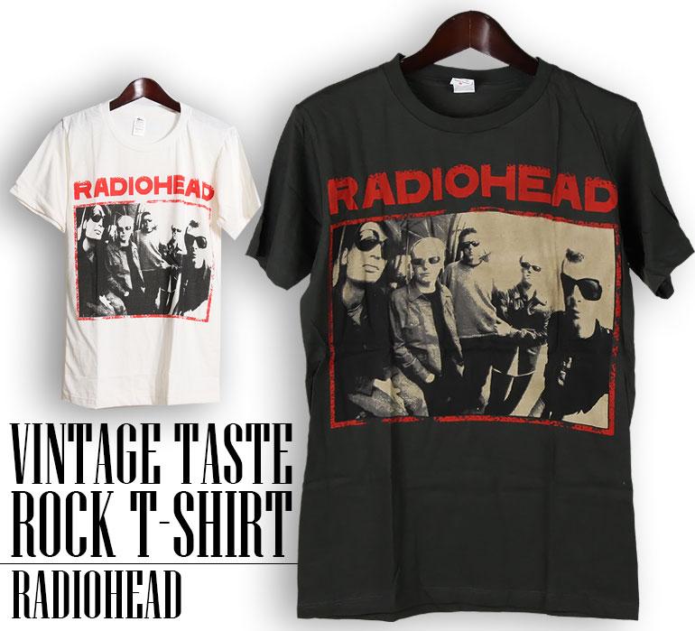 ロックTシャツ 半袖 ヴィンテージ風 Radiohead Tシャツ レディオヘッド バンドTシャツ メンズ レディース ロックT バンドT バンT ロゴ バンド ロゴT ダンス ミュージック ファッション ROCK ブラック ホワイト 黒 白 ヘヴィメタ コットン 綿 100% 春夏 夏物 おしゃれ