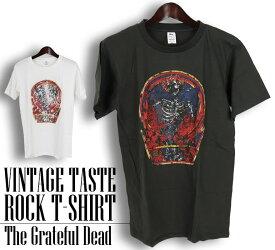 ロックTシャツ 半袖 ヴィンテージ風 Grateful Dead Tシャツ グレイトフル デッド バンドTシャツ メンズ レディース ロックT バンドT バンT ロゴ バンド ロゴT ダンス ミュージック ファッション ブラック ホワイト 黒 白 ヘヴィメタ コットン 綿 100% 春夏 夏物 おしゃれ