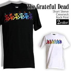 ロックTシャツ 半袖 Grateful Dead Tシャツ グレイトフルデッド バンドTシャツ ダンシングベア デッドベア ビーンベア メンズ レディース パロディ Tシャツ おもしろ ロゴ 衣装 ダンス ミュージック ファッション ROCK ブラック 黒 白 コットン 綿 100% 春夏 夏物 おしゃれ