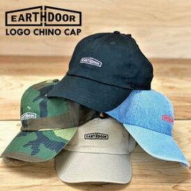 EARTHDOOR ロゴ チノキャップ アウトドア ローキャップ キャンプ アースドア ポロ キャップ 迷彩 帽子 カモフラージュ コットン デニム メンズ レディース ユニセックス