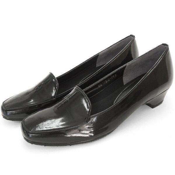 No.12902bl/スーツにも合うシンプルレインパンプス。スクウェアトゥのデザインが上品。エナメル素材もおしゃれ! (レディース 女性用 パンプス シューズ おしゃれ レイン レインシューズ レイングッズ 22 23 24センチ 黒 ブラック 雨靴 晴雨兼用