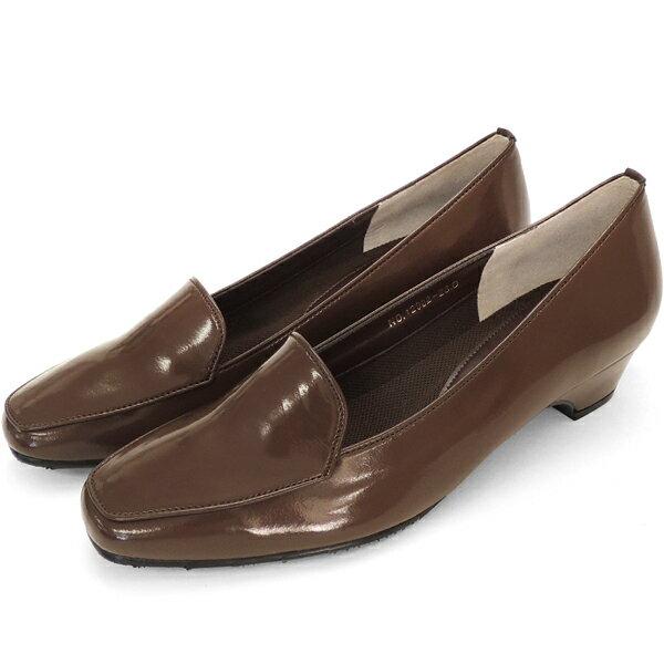 No.12902br/スーツにも合うシンプルレインパンプス。スクウェアトゥのデザインが上品。エナメル素材もおしゃれ! (レディース 女性用 パンプス シューズ おしゃれ レイン レインシューズ レイングッズ 22 23 24センチ ブラウン 茶 雨靴 晴雨兼用