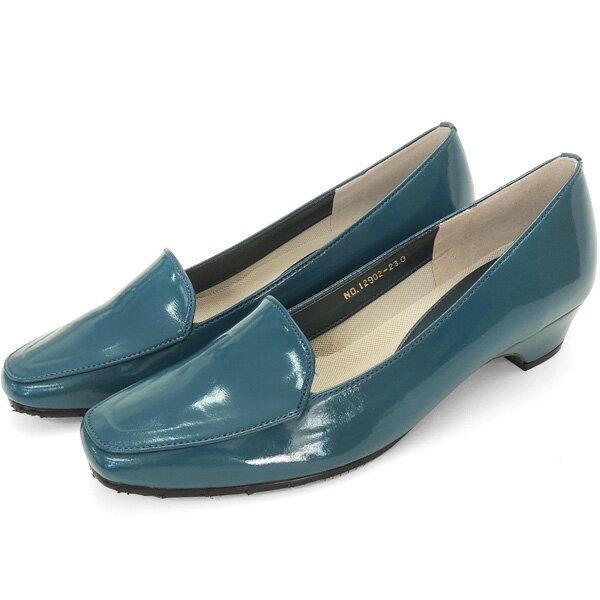 No.12902bu/スーツにも合うシンプルレインパンプス。スクウェアトゥのデザインが上品。エナメル素材もおしゃれ!(レディース 女性用 パンプス シューズ おしゃれ レイン レインシューズ 22 23 24cm ブルー 青 雨靴 晴雨兼用)