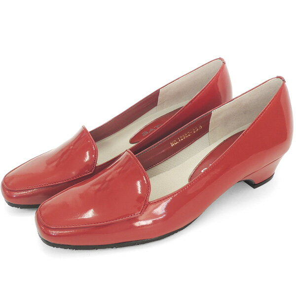 No.12902dre/スーツにも合うシンプルレインパンプス。スクウェアトゥのデザインが上品。エナメル素材もおしゃれ! (レディース 女性用 パンプス シューズ おしゃれ レイン レインシューズ レイングッズ 22 23 24センチ レッド 赤 雨靴 晴雨兼用)