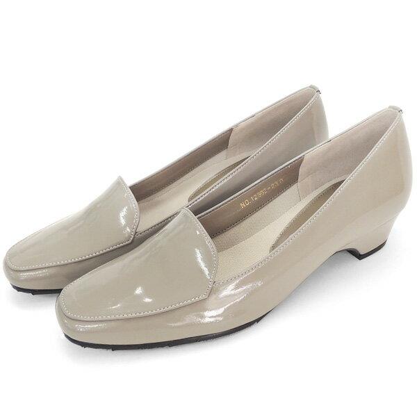 No.12902gbe/スーツにも合うシンプルレインパンプス。スクウェアトゥのデザインが上品。エナメル素材もおしゃれ!(レディース 女性用 パンプス シューズ おしゃれ レイン レインシューズ 22 23 24cm ベージュ 雨靴 晴雨兼用)
