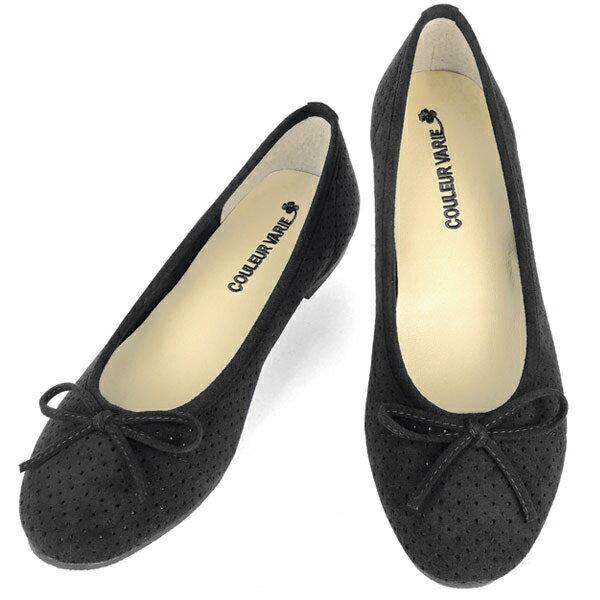 No.344216 クロールバリエ パンプス パンチング リボンパンプス ブラック(レディース 女性用 靴 シューズ おしゃれ 洗える クロール バリエ ローヒール 歩きやすい 痛くない 履きやすい 22センチ 25 黒 ブラック ママ)