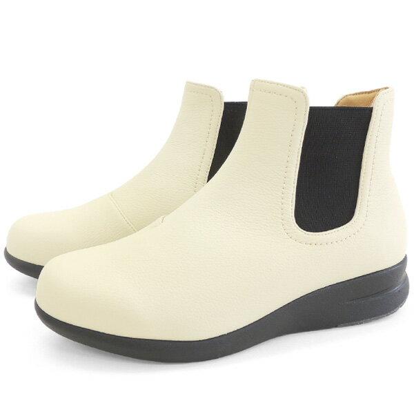 No.674101 バスルーム サイドゴア レインブーツ アイボリー(レディース 女性用 おしゃれ レインシューズ 雨靴 ヒール 通勤 OL シンプル 軽い ゴム 軽量 歩きやすい 軽い 柔らかい)