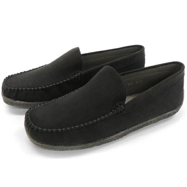 No.718 クロールバリエ モカシンローファー ブラック (レディース ローファー ローファ シューズ おしゃれ かわいい モカシン ドライビング 歩きやすい 痛くない 21.5cm 小さい靴 24 25 大きい ママ 小さいサイズ) 10P03Dec16