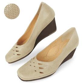 パンプス ウエッジソール 歩きやすい レディース 女性用 ドットグレーベージュ 超軽い 脚長 5.5cmヒール ブランド クロールバリエ COULEUR VARIE No.669